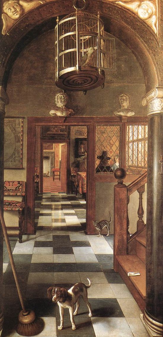 "Samuel van Hoogstraten, View of a Corridor, oil on canvas, 260x140cm/ 8'6""x4'5"""
