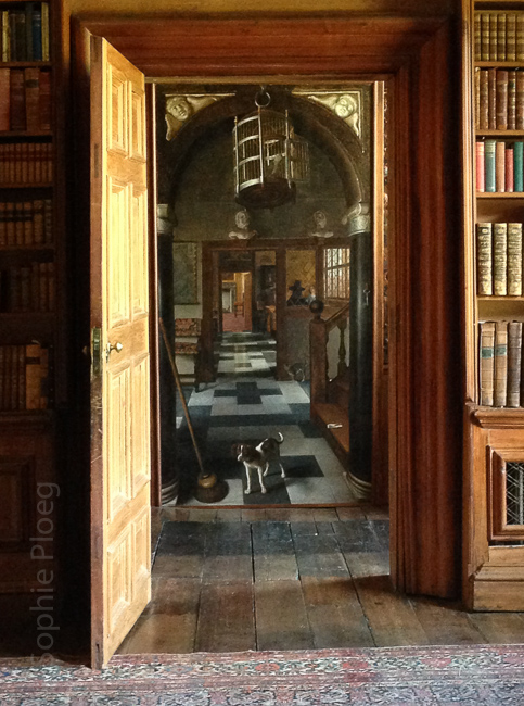 "Samuel van Hoogstraten, View of a Corridor, oil on canvas, 260x140cm/ 8'6""x4'5"". National Trust, Dyrham Park. Seen through a doorway."