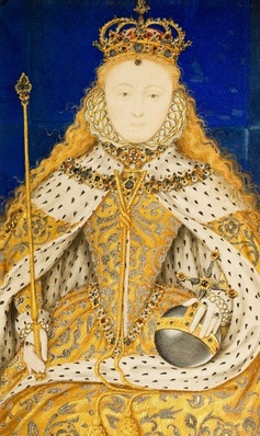 Miniature of Queen Elizabeth I in her Coronation Robes, late 16th century, unknown artist. 89 mm high x 56 mm wide. Image: Harley Gallery.