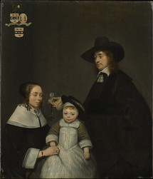 Gerard ter Borch, The Van Moerkerken Family, oil on wood, 1653-54. 16 1/4 x 14 in. (41.3 x 35.6 cm). Metropolitan Museum of Art.