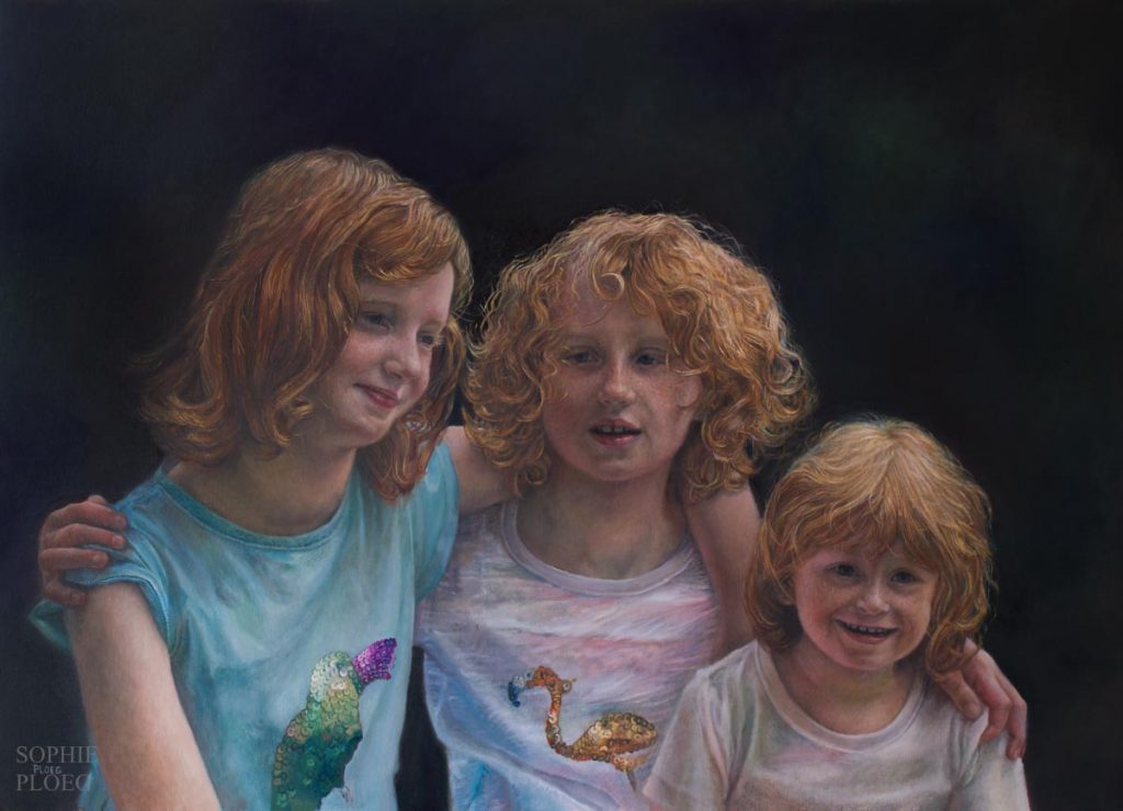 Sophie Ploeg, Sisters, oil on canvas, 50x70cm. Commissioned.