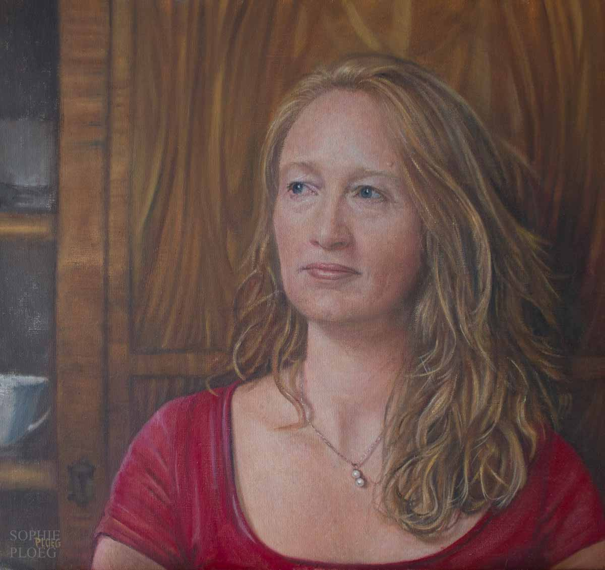 Sophie Ploeg, Nicola, oil on linen, 35x38cm. Commissioned.