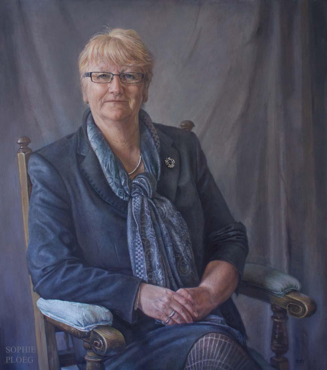 Sophie Ploeg, Mrs Margie Burnet Ward, oil on linen, 86x76cm. Commissioned.
