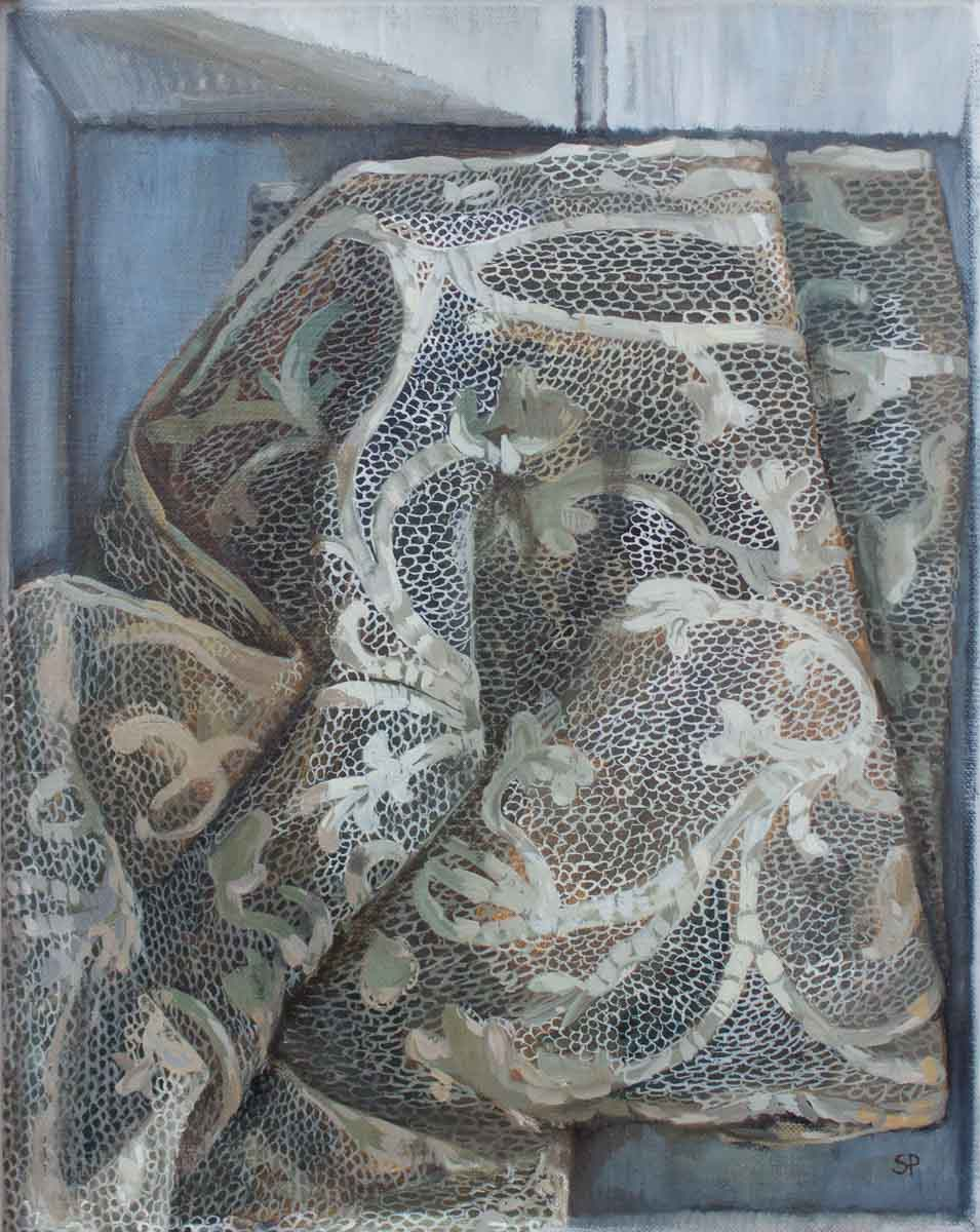 Sophie Ploeg, Lace in Box, oil on linen