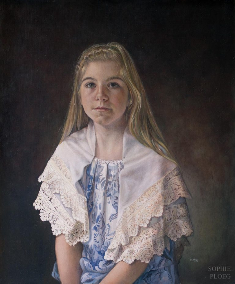Sophie Ploeg, The Lacemaker, oil on linen, 60x50xm. Sold