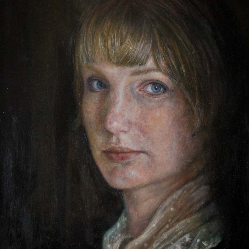 Sophie Ploeg, Self Portrait with Lace Collar, oil on panel, 30x24cm. NFS