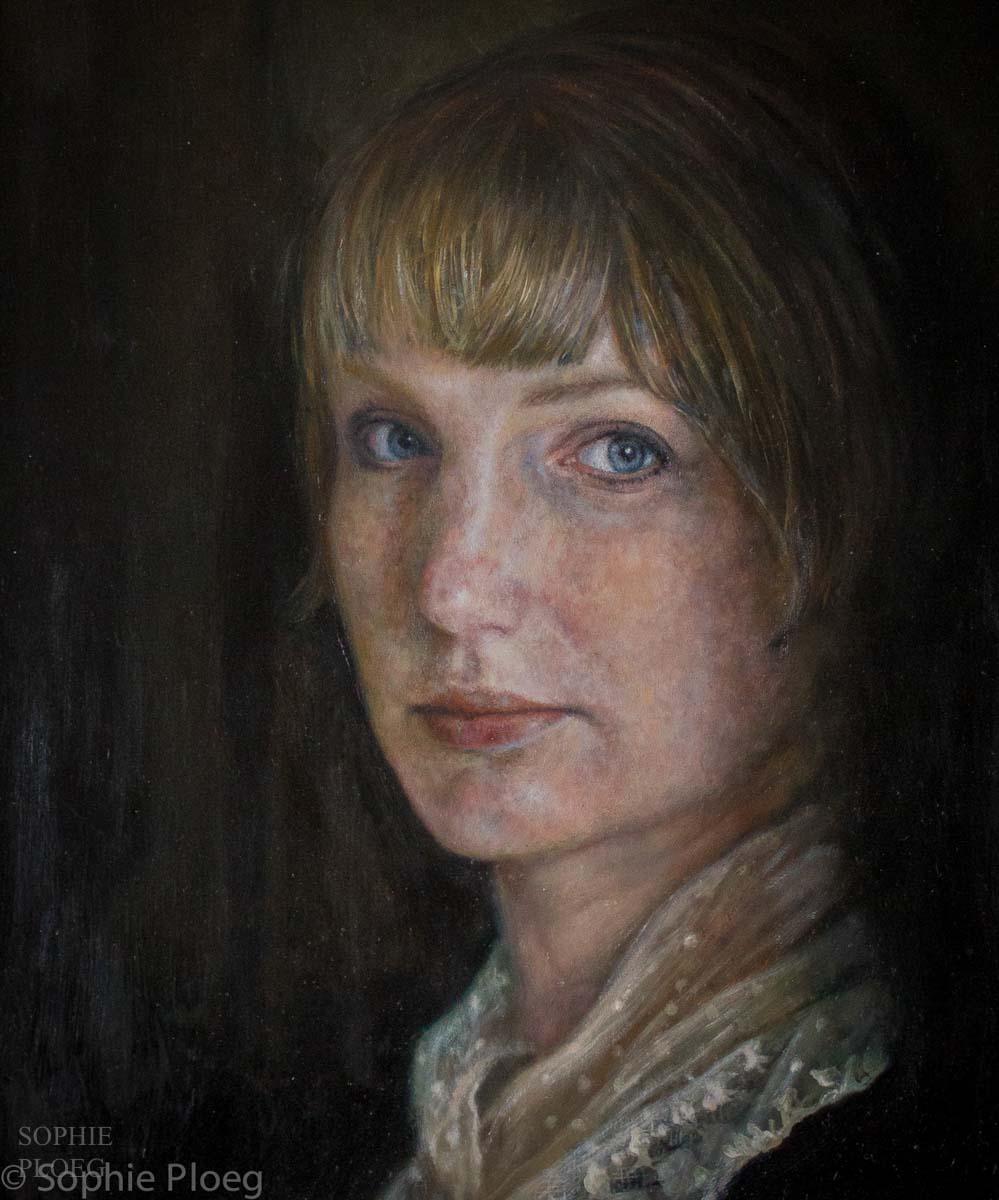 Sophie Ploeg, Self Portrait with Lace Collar, oil on panel, 30x24cm. NFS