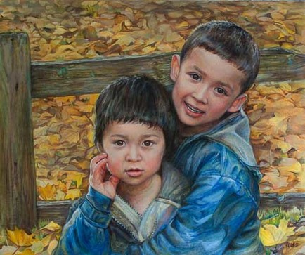 Sophie Ploeg, Two Brothers, oil on canvas, 50x60cm. 2010. Commissioned.