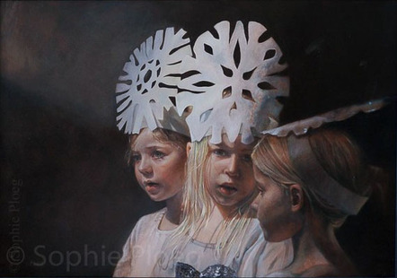 Sophie Ploeg, The Snow Flake Children, oil on canvas, 50x70cm. 2012. Sold.