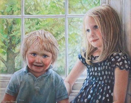 Sophie Ploeg, Morgan and Brigitte, oil on canvas, 35x45cm. 2011. Commissioned.