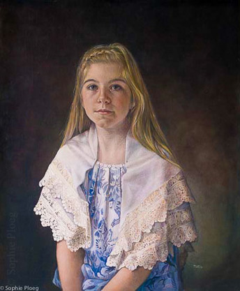 Sophie Ploeg, The Lace Maker, oil on linen, 60x50cm. Sold. 2014 Part of the BP Travel Award series of portraits.