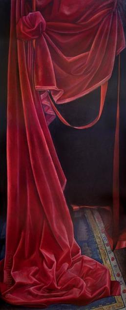 Sophie Ploeg, The Curtain Falls, oil, 170x70cm