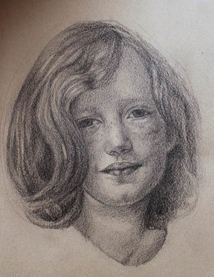 Sophie Ploeg, A small head study in graphite pencil.