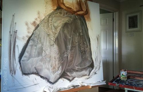 Sophie Ploeg, The Duchess (in progress), oil on linen, 91x101cm