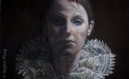 Sophie Ploeg, All that Was Black (detail), oil on linen, 60x50cm