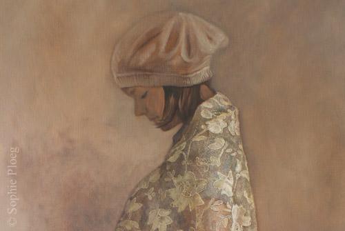 Sophie Ploeg, The Shawl (detail), oil on linen, 122x61cm.