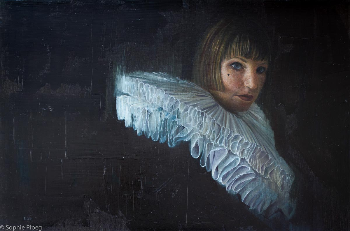 Sophie Ploeg, Pleating Time, oil on linen, 40x60cm.
