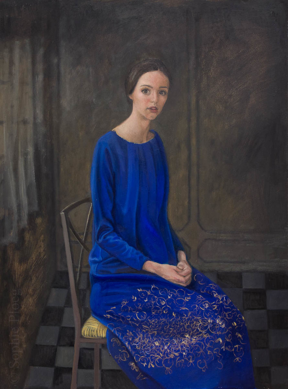 Sophie Ploeg, Waiting in Blue, oil on board, 40x40cm.