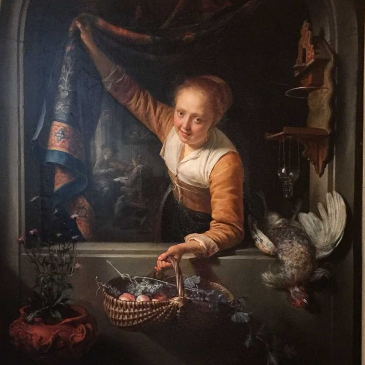 Gerrit Dou, Girl at Window with Basket of Fruit, 1657
