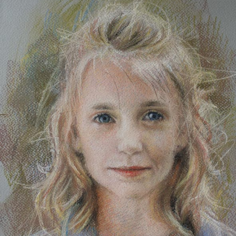 Sophie Ploeg, study of a Girl, Pastel, 30x24cm. Available.