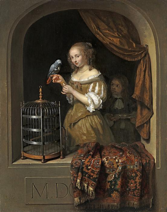 Caspar Netscher, woman feeding a parrot, painting, Dutch 17th century