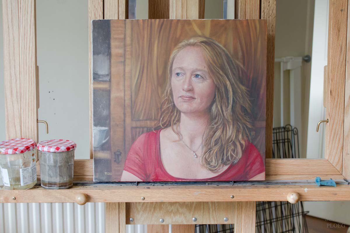 Commissioned portrait on the easel, Sophie Ploeg