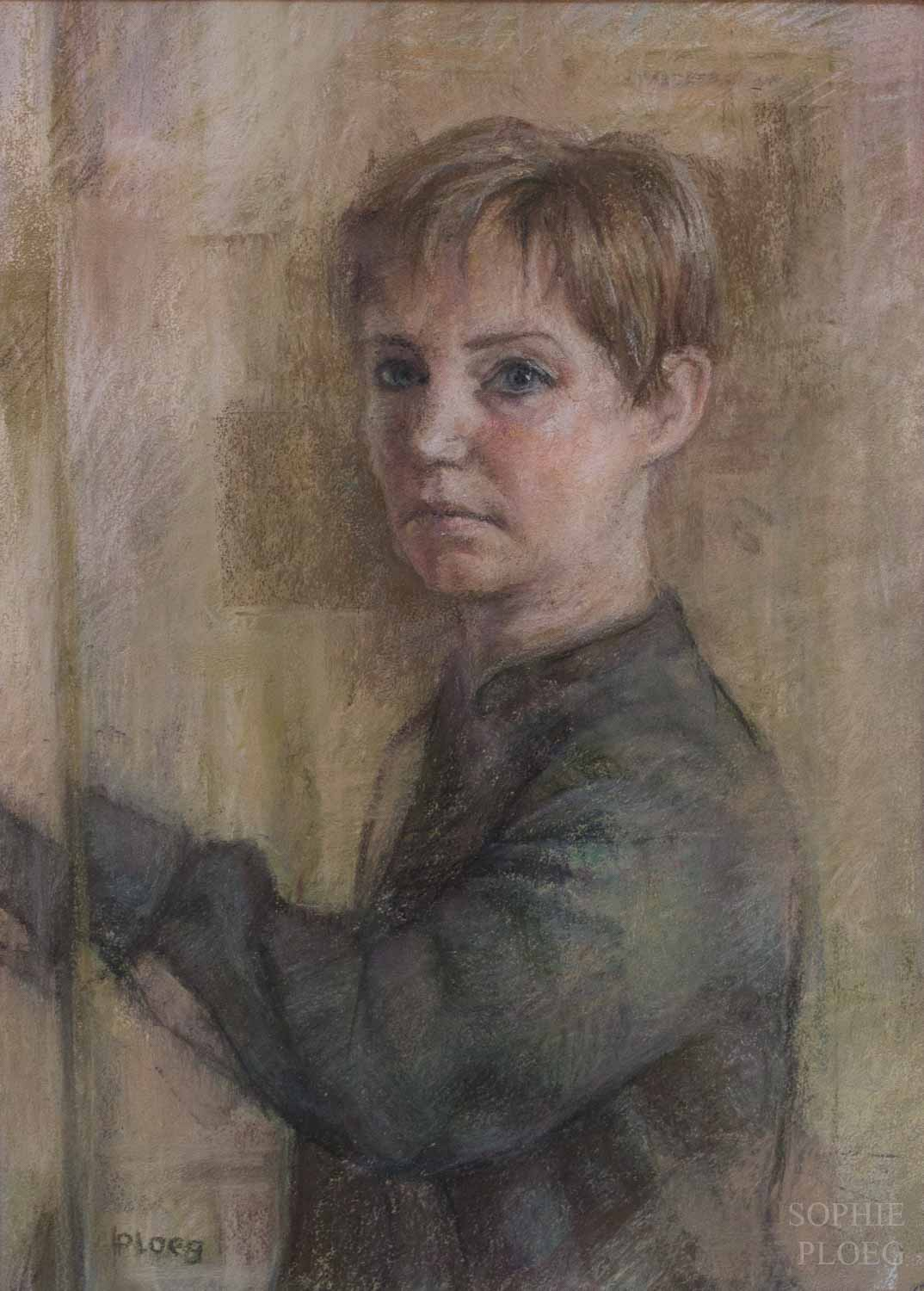 Sophie Ploeg, Self Portrait January 2018, pastel on paper