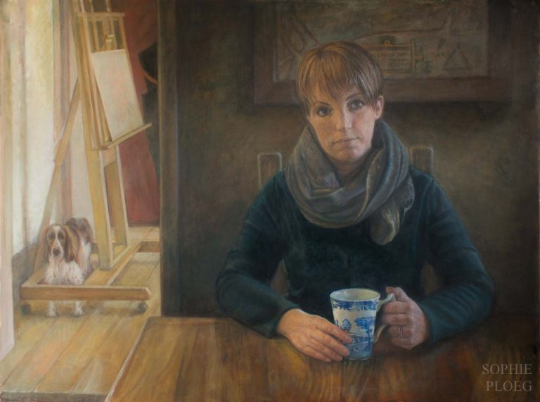 Sophie Ploeg, Self Portrait with Dog, oil on panel