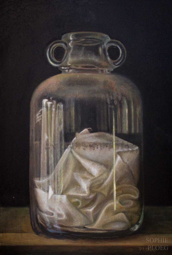 Sophie Ploeg, Silk in Demijohn, Oil on copper, 30x20cm. Available