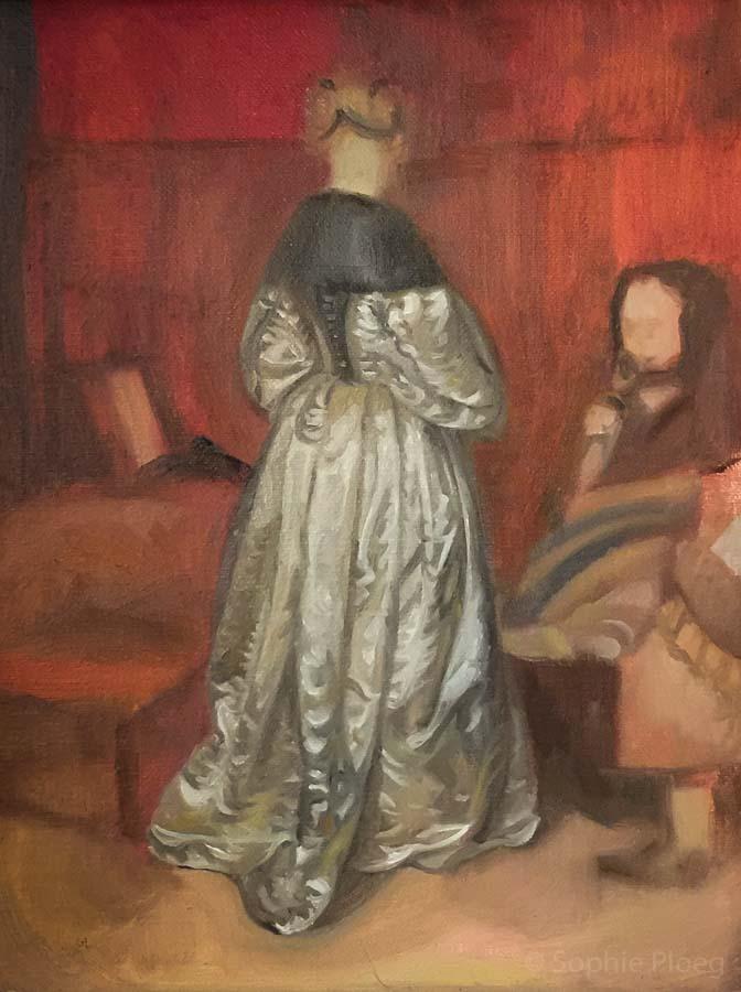 Sophie Ploeg, A Study After Ter Borch, oil on linen, 24x18cm