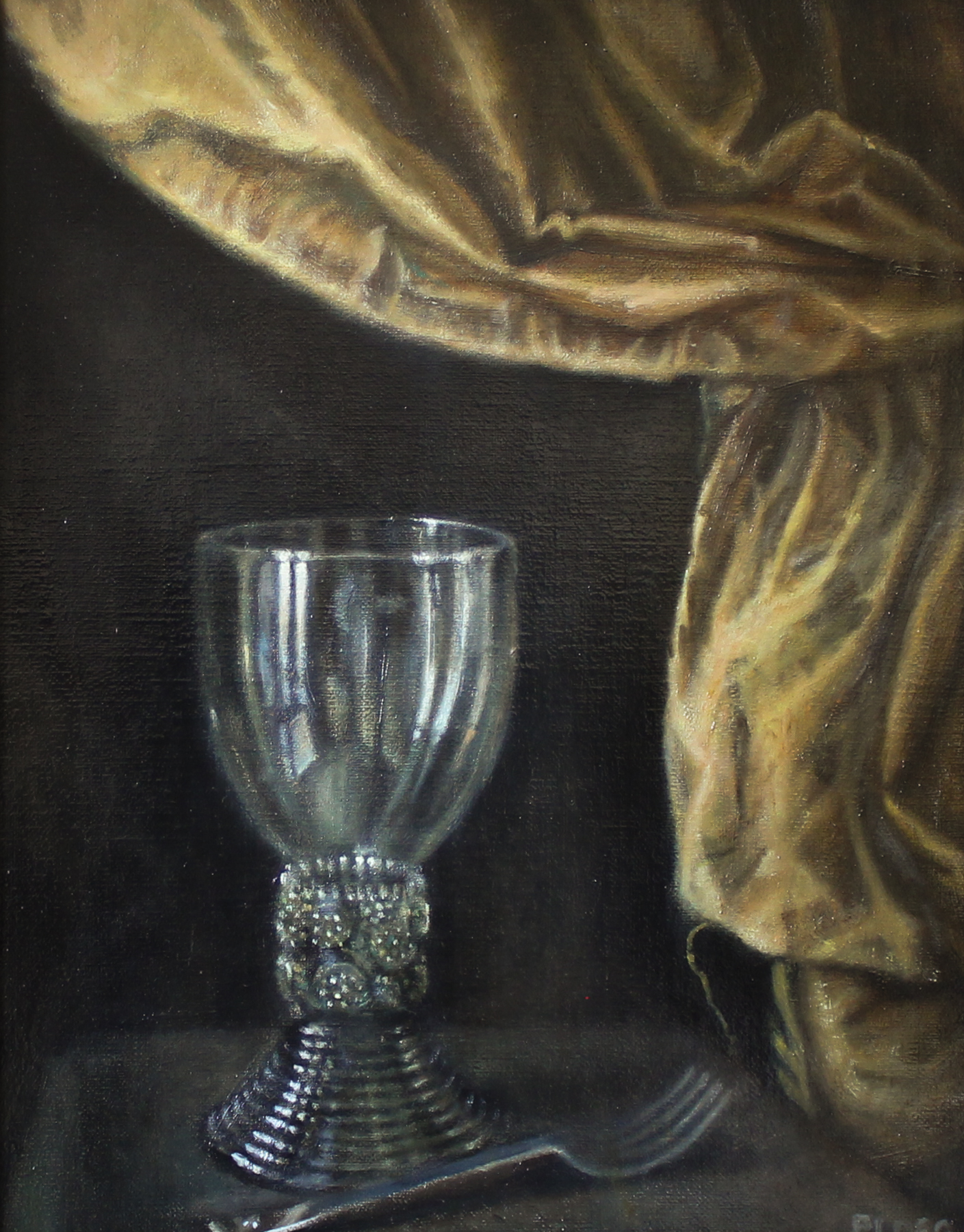 Sophie Ploeg still life with roemer glass, oil on linen